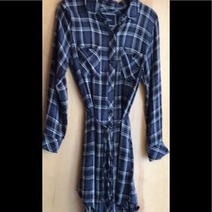 RAILS blue plaid flannel shirtdress/ long shirt